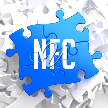 NFC on Blue Puzzle on White Background.