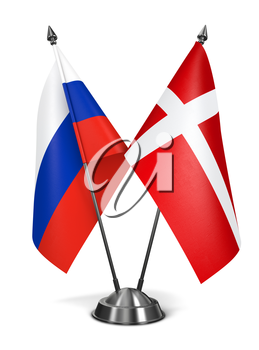 Russia and Denmark - Miniature Flags Isolated on White Background.