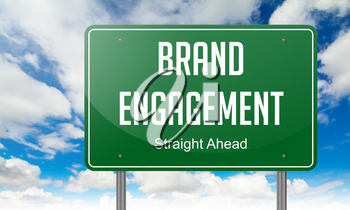 Highway Signpost with Brand Engagement wording on Sky Background.