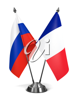 Russia and France - Miniature Flags Isolated on White Background.