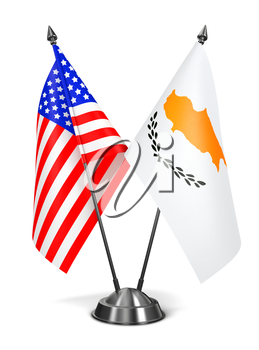 USA and Cyprus - Miniature Flags Isolated on White Background.