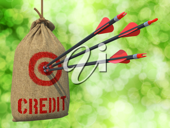 Credit - Three Arrows Hit in Red Target on a Hanging Sack on Natural Bokeh Background.