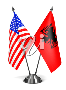 USA and Albania - Miniature Flags Isolated on White Background.
