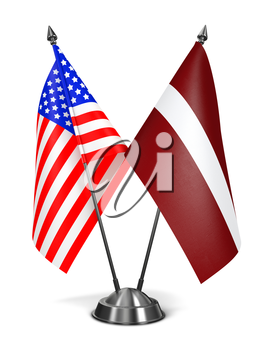 USA and Latvia - Miniature Flags Isolated on White Background.