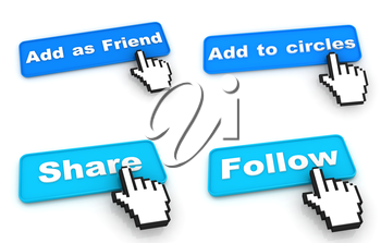 Social Networks Concept. Blue Web Buttons with Hand Cursor Isolated on White Background.