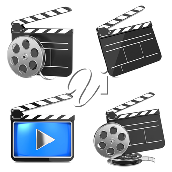 Cinema, Movie, Film and Video Media Industry Concept. Clapboards with Film Reels on White Background.