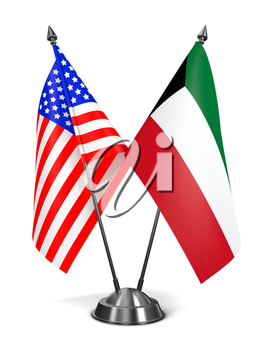 USA and Kuwait - Miniature Flags Isolated on White Background.