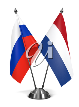Russia and Netherlands - Miniature Flags Isolated on White Background.
