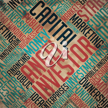 Angel Investor - Red Word on Grunge Word Collage on Old Fulvous Paper.
