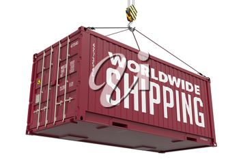 World Wide Shipping on Brown Metal Cargo Container on a White Background.