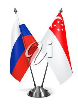 Russia and Singapore - Miniature Flags Isolated on White Background.