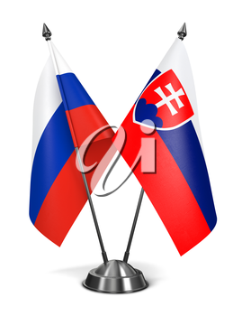 Russia and Slovakia - Miniature Flags Isolated on White Background.