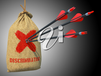 Discrimination - Three Arrows Hit in Red Target on a Hanging Sack on gray Background.