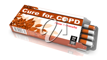 Cure for COPD - Brown Open Blister Pack Tablets Isolated on White.
