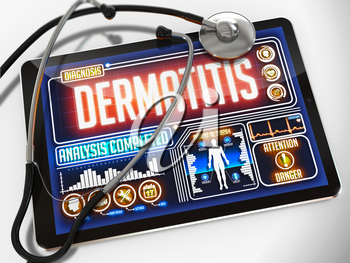 Dermatitis - Diagnosis on the Display of Medical Tablet and a Black Stethoscope on White Background.