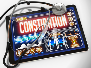 Constipation - Diagnosis on the Display of Medical Tablet and a Black Stethoscope on White Background.