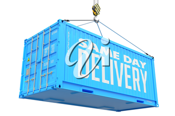 Same Day Delivery - Blue Cargo Container Hoisted by Hook, Isolated on White Background.