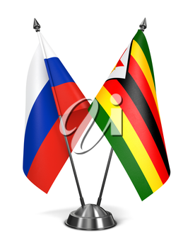 Russia and Zimbabwe - Miniature Flags Isolated on White Background.