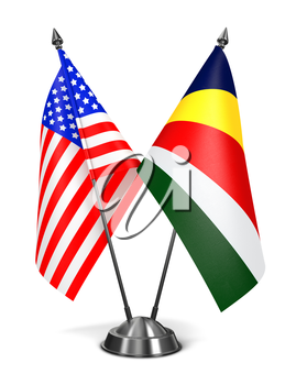 USA and Seychelles - Miniature Flags Isolated on White Background.
