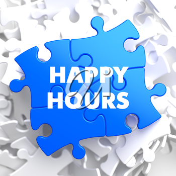Happy Hours on Blue Puzzle on White Background.