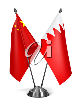 China and Bahrain - Miniature Flags Isolated on White Background.