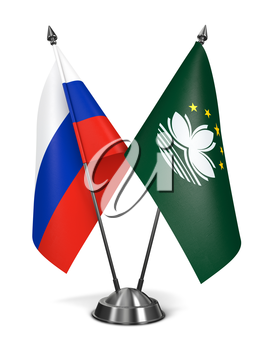 Russia and Macau - Miniature Flags Isolated on White Background.