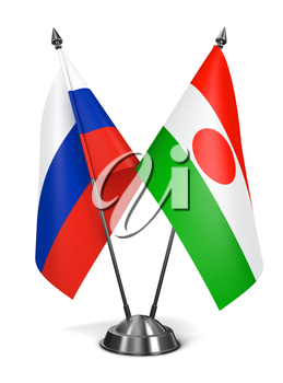 Russia and Niger - Miniature Flags Isolated on White Background.