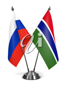 Russia and Gambia - Miniature Flags Isolated on White Background.