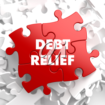 Debt Relief on Red Puzzle on White Background.