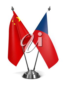 China and Czech Republic - Miniature Flags Isolated on White Background.