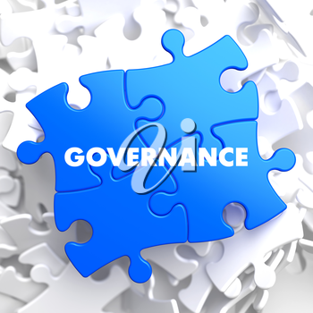Governance on Blue Puzzle on White Background.