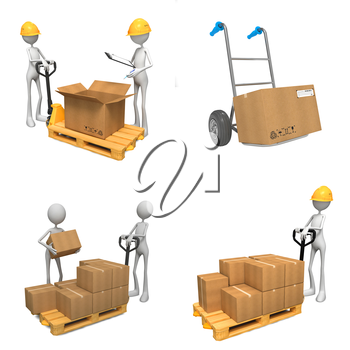 Storage Concepts - Set of 3D Isolated on White Background. Abstract Workers Stand near to Boxes.