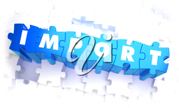 Import - Word in Blue Color on Volume  Puzzle. 3D Illustration.