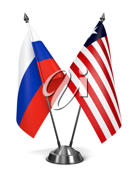 Russia and Liberia - Miniature Flags Isolated on White Background.