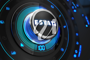 Estate Button with Glowing Blue Lights on Black Console.