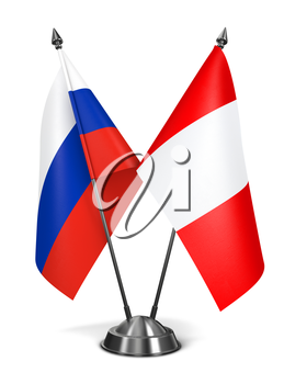 Russia and Peru - Miniature Flags Isolated on White Background.
