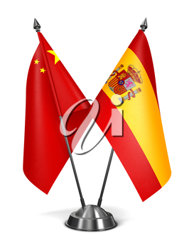 China and Spain - Miniature Flags Isolated on White Background.