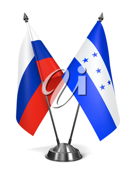 Royalty Free Clipart Image of Russia and Honduras Miniature Flags