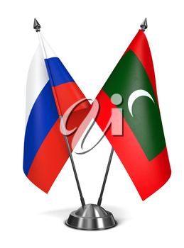 Royalty Free Clipart Image of Russia and Maldives Miniature Flags