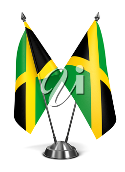 Royalty Free Clipart Image of Two Jamaican Miniature Flags