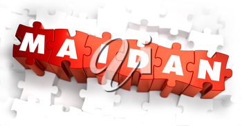 Royalty Free Clipart Image of Maidan Text on Puzzle Pieces