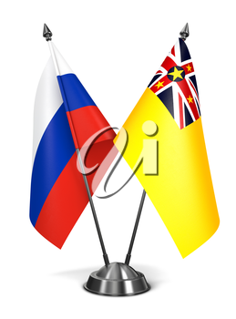 Royalty Free Clipart Image of Russia and Niue Miniature Flags