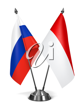 Royalty Free Clipart Image of Russia and Indonesia Miniature Flags