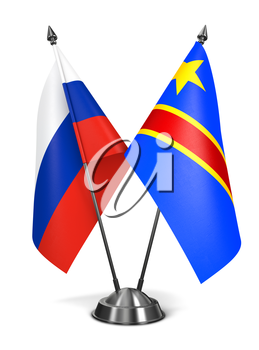 Royalty Free Clipart Image of Russia and Democratic Republic of Congo Miniature Flags