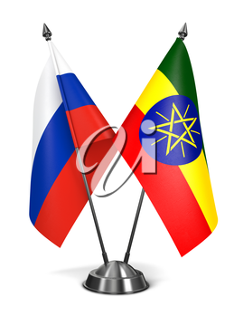 Royalty Free Clipart Image of Russia and Ethiopia Miniature Flags