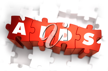 Royalty Free Clipart Image of AIDS Text on Puzzle Pieces