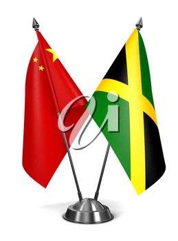 Royalty Free Clipart Image of China and Jamaica Miniature Flags