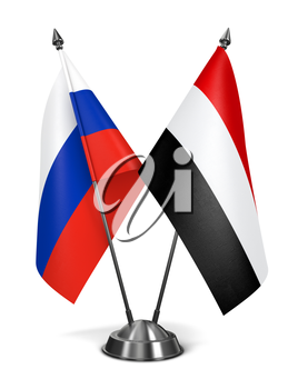 Russia and Yemen - Miniature Flags Isolated on White Background.