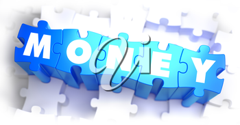 Money - White Text on Blue Puzzles and Selective Focus. 3D Illustration.