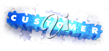 Customer - Word on Blue Puzzles on White Background. 3D Render.